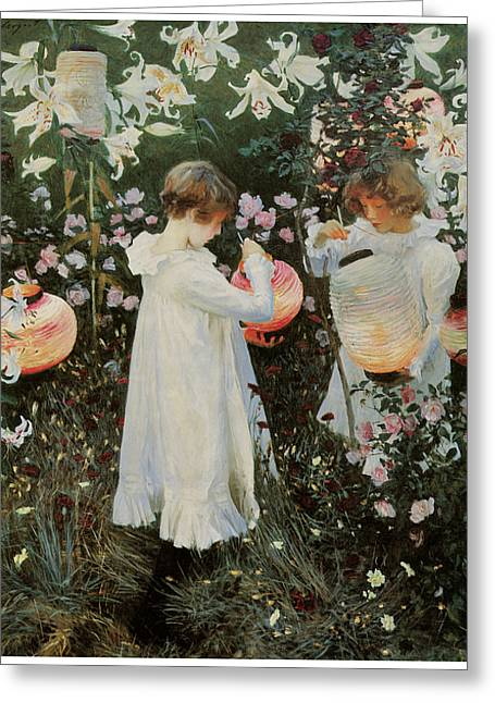 Carnation Lily Lily Rose Greeting Card by John Singer Sargent