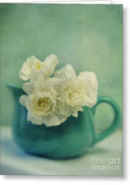 Turquois Greeting Cards - Carnations In A Jar Greeting Card by Priska Wettstein