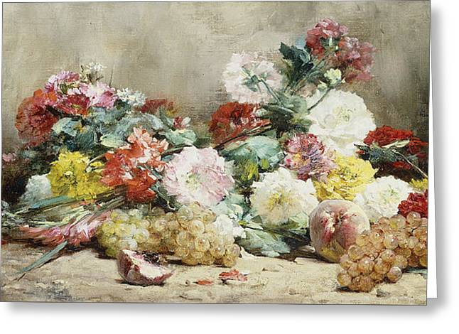 Carnations, Roses, Grapes And Peaches Greeting Card by Georges Jeannin