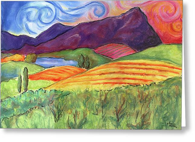 Napa Valley Vineyard Pastels Greeting Cards - Carneros Carnival Greeting Card by Amelia Hunter