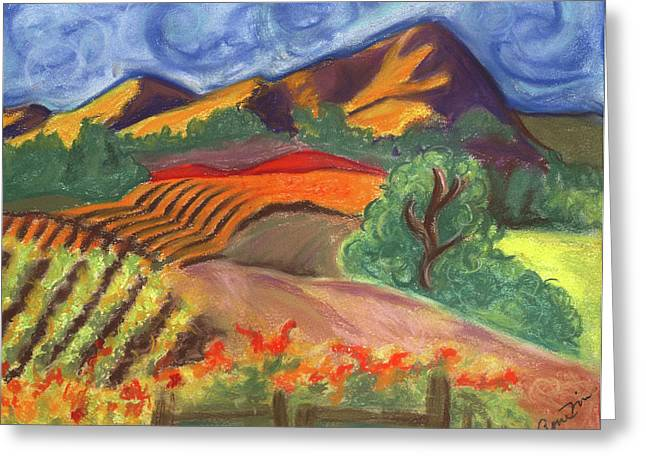 Napa Valley Vineyard Pastels Greeting Cards - Carneros Vineyard Fall Greeting Card by Amelia Hunter