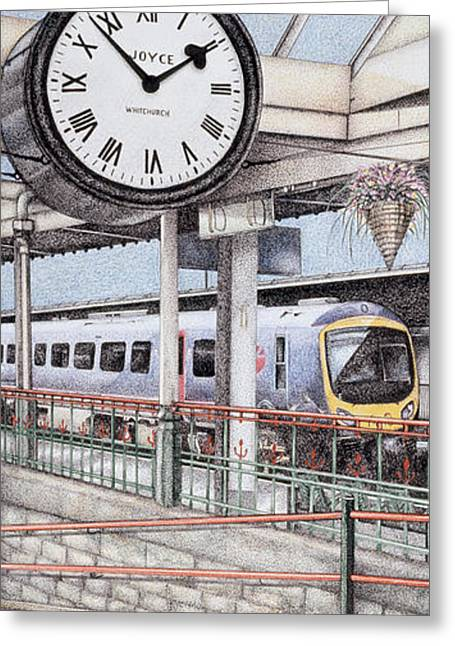 Roman Numeral Greeting Cards - Carnforth Railway Station Clock Lancashire  Greeting Card by Sandra Moore