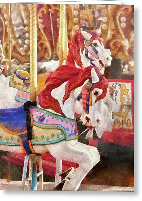 Carnival - Carousel Horses  Greeting Card by Mike Savad