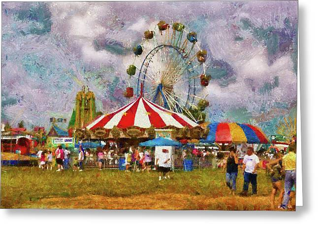 Carnival - Look At All The Excitement Greeting Card by Mike Savad