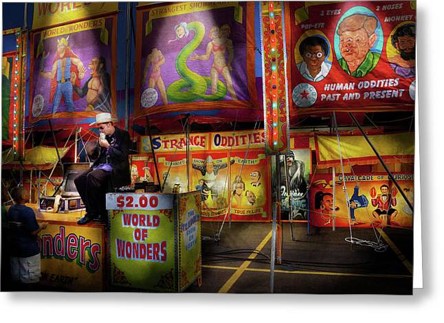 Customizable Greeting Cards - Carnival - Strange Oddities  Greeting Card by Mike Savad