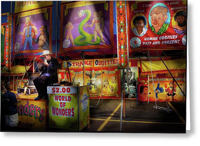 Freak Show Greeting Cards - Carnival - Strange Oddities  Greeting Card by Mike Savad