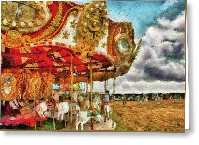 Carnival - The Merry-go-round Greeting Card by Mike Savad