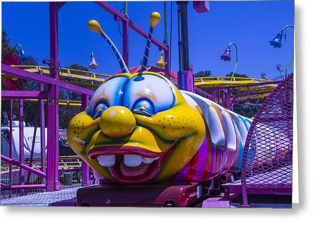 Theme Park Greeting Cards - Carnival Caterpillar Ride Greeting Card by Garry Gay