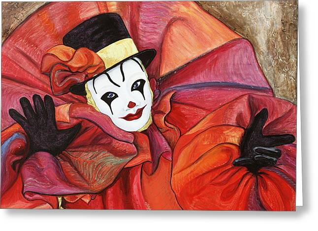 Carnival Clown Greeting Card by Patty Vicknair