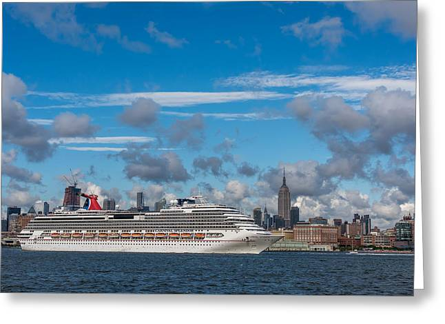 Carnival Cruise Splendor Nyc Skyline Greeting Card by Terry DeLuco