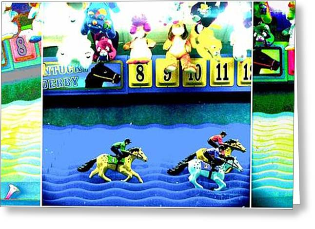 Race Horse Greeting Cards - Carnival Horse Race Greeting Card by Marianne Dow