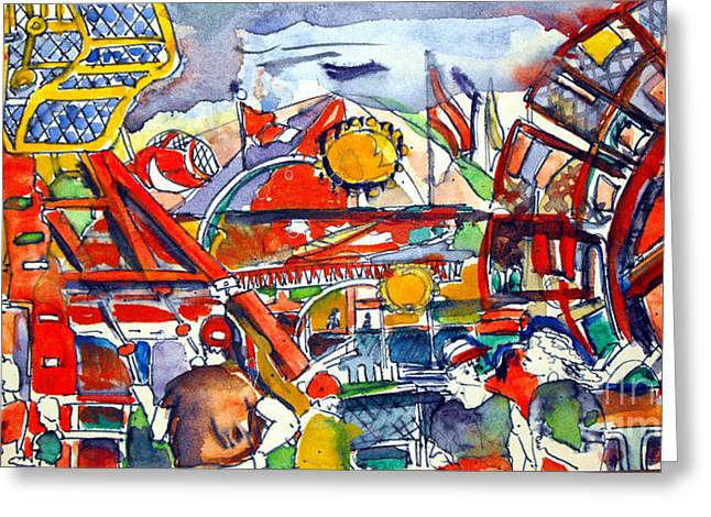 Amusements Drawings Greeting Cards - Carnival Midway Greeting Card by Mindy Newman