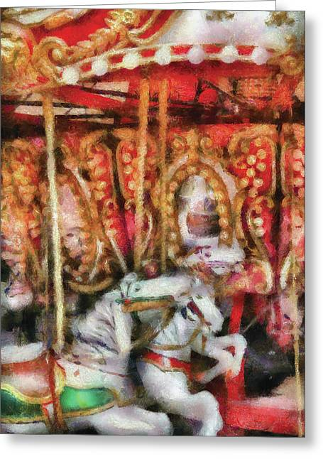 Carnival - The Carousel - Painted Greeting Card by Mike Savad