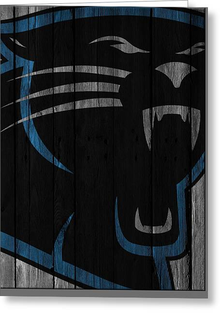 Caroilina Panthers Wood Fence Greeting Card by Joe Hamilton