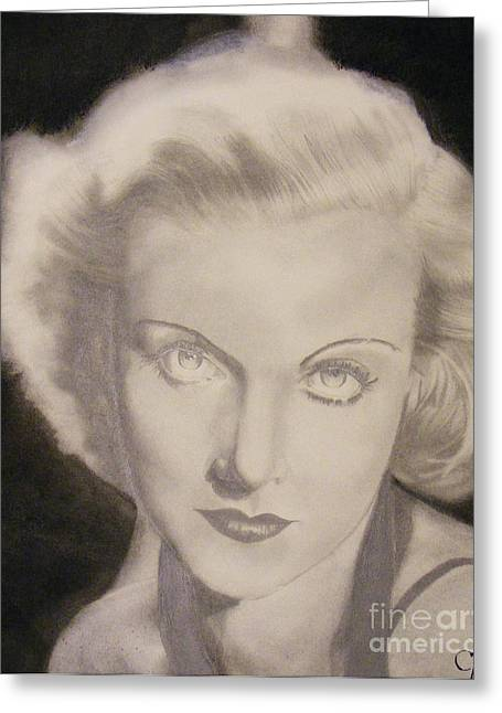 For Sale Drawings Greeting Cards - Carole Lombard Greeting Card by Crispin  Delgado