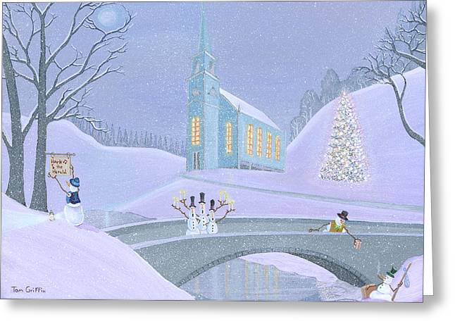 Snowman Greeting Cards - Carolers On A Bridge Greeting Card by Thomas Griffin