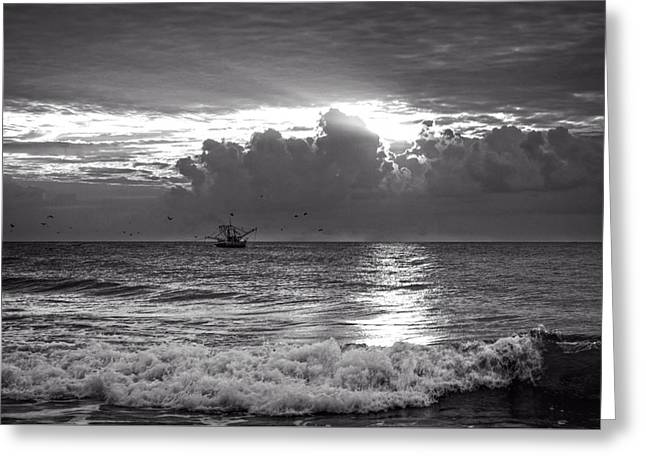 Boats In Water Greeting Cards - Carolina Beach Shrimp Boat At Sunrise in Black and White Greeting Card by Chrystal Mimbs