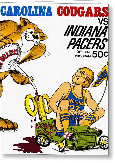 Basketballs Greeting Cards - Carolina Cougars VS Indiana Pacers Vintage ABA Program Greeting Card by Big 88 Artworks