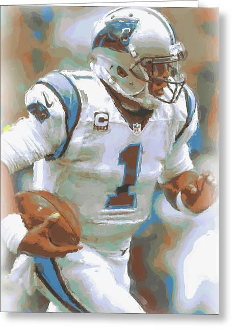 Carolina Panthers Cam Newton 2 Greeting Card by Joe Hamilton