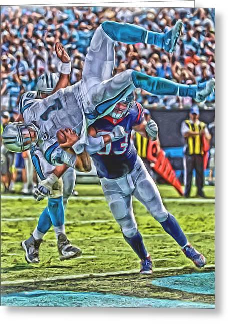 Carolina Panthers Cam Newton Oil Art Greeting Card by Joe Hamilton
