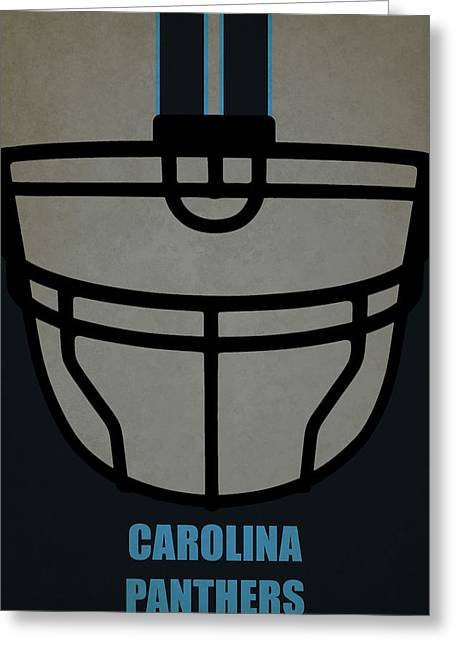 Carolina Panthers Helmet Art Greeting Card by Joe Hamilton