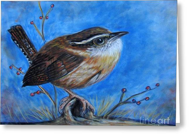 Carolina Wren Greeting Card by Patricia L Davidson