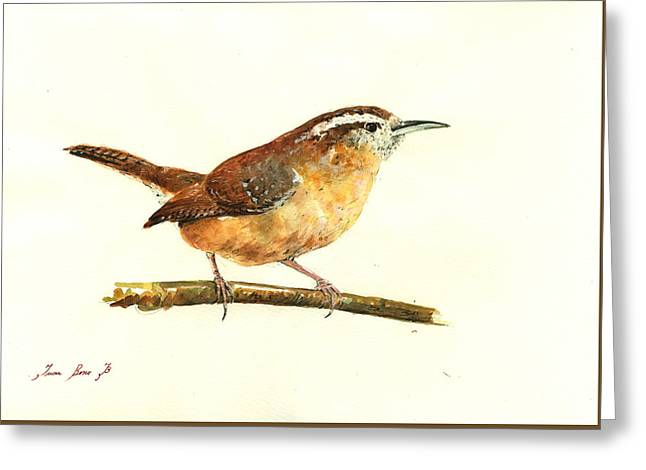 Carolina Wren Watercolor Painting Greeting Card by Juan  Bosco