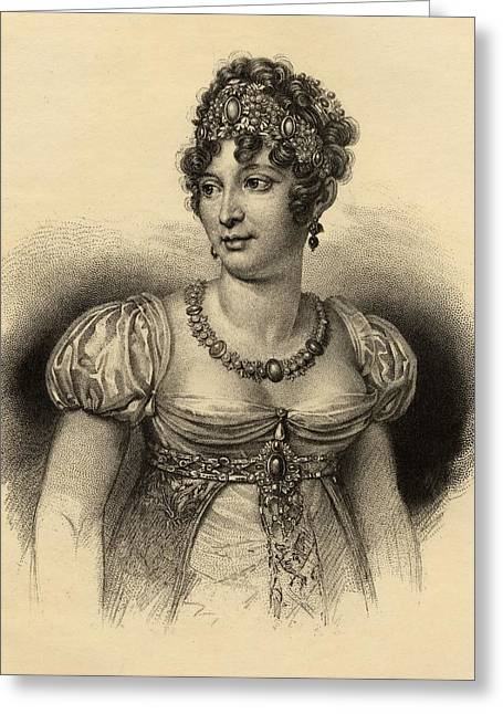 Naples Drawings Greeting Cards - Caroline Bonaparte  Marie-annonciade Greeting Card by Ken Welsh