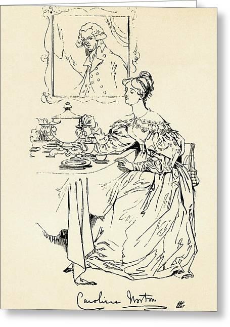 Caroline Elizabeth Sarah Norton, 1808 Greeting Card by Vintage Design Pics