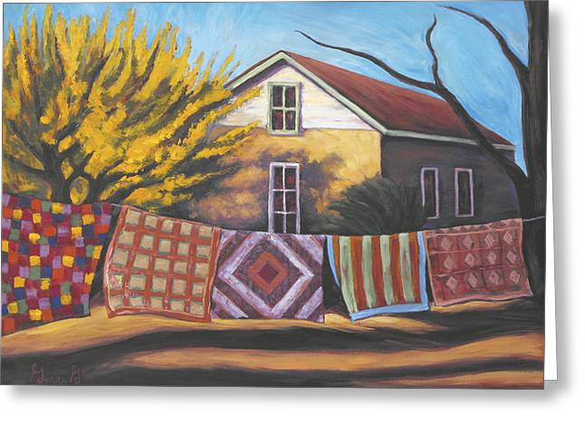 Colorful Quilts Greeting Cards - Carolines Quilts Greeting Card by Gina Grundemann
