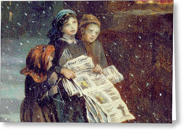 Carols for Sale  Greeting Card by Augustus Edward Mulready