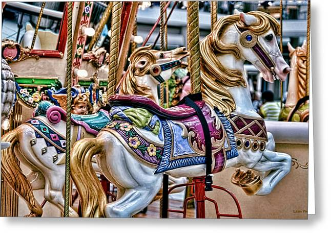 Carosel Greeting Cards - Carosel Dream - Horses Greeting Card by Lesa Fine
