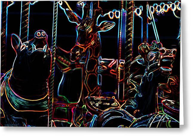 Carosel Greeting Cards - Carosel Dream - The Swine and The Giraffe Greeting Card by Lesa Fine