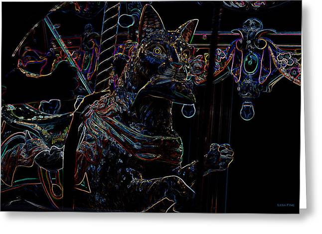 Carosel Greeting Cards - Carosel Dreams Neon Cat and Fish Greeting Card by Lesa Fine