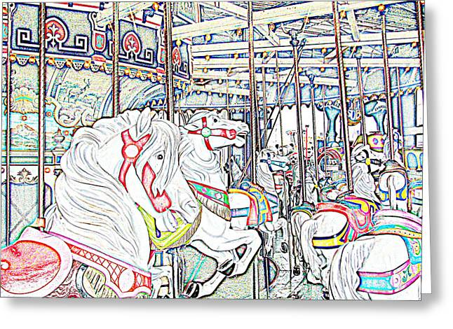 Kevin Sherf Greeting Cards - Carousel At Wonderland Greeting Card by Kevin  Sherf