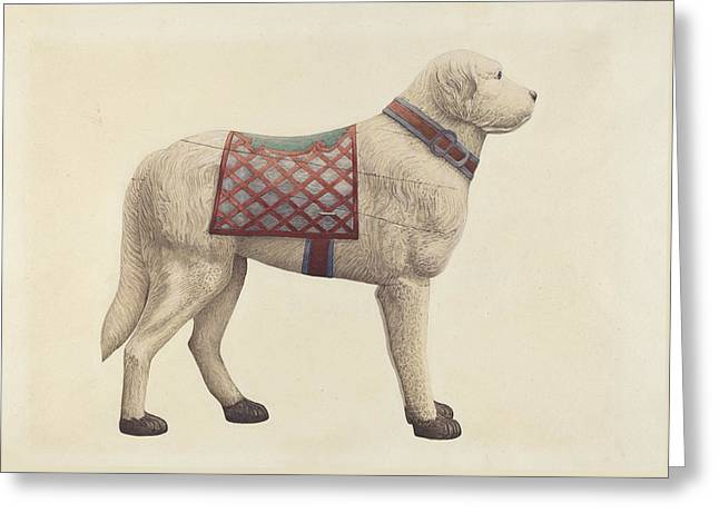 Collar Drawings Greeting Cards - Carousel Dog Greeting Card by Robert Pohle
