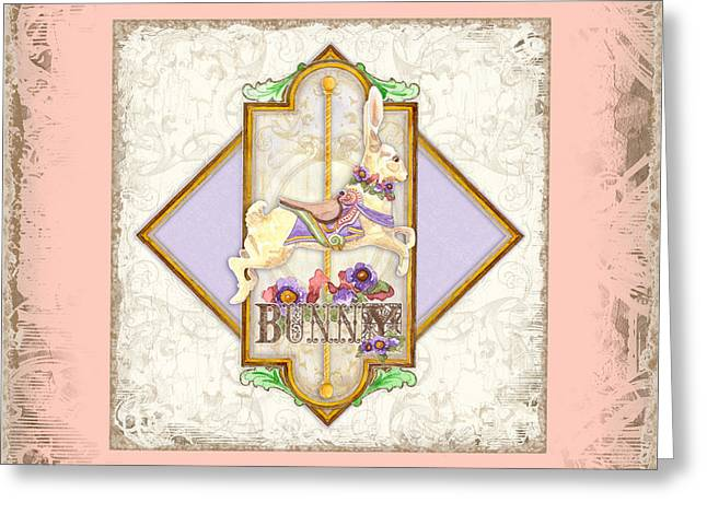 Carousel Dreams - Bunny Greeting Card by Audrey Jeanne Roberts