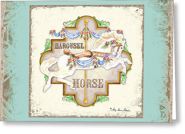 Carousel Dreams - Horse Greeting Card by Audrey Jeanne Roberts