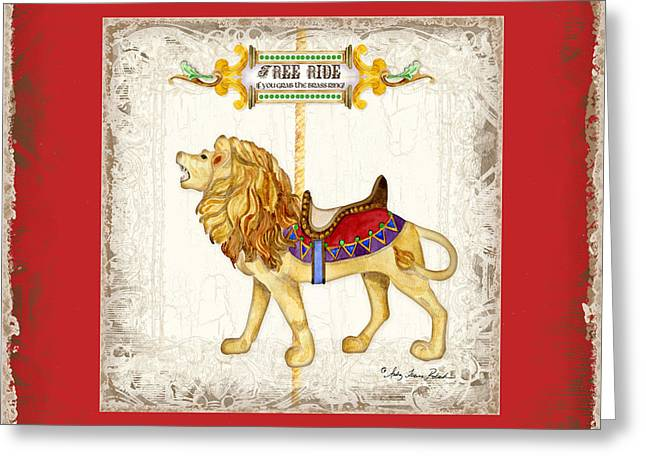 Carousel Dreams - Roaring Lion Greeting Card by Audrey Jeanne Roberts