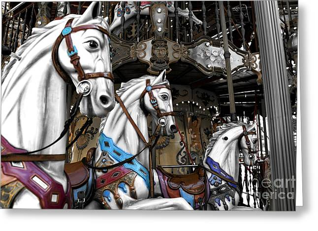Race Horse Greeting Cards - Carousel Fusion Greeting Card by John Rizzuto