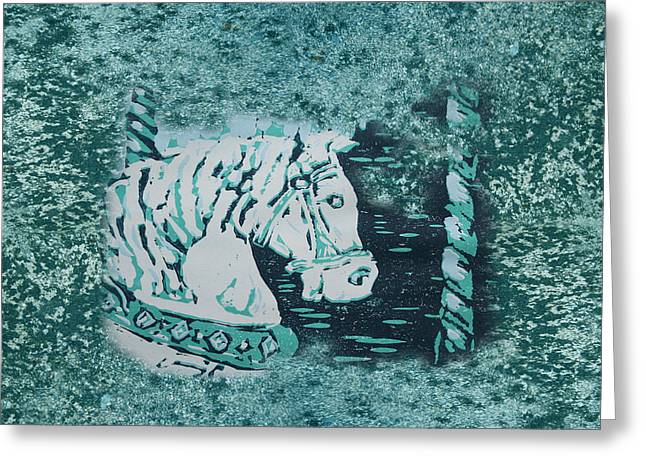 Lino Paintings Greeting Cards - Carousel Horse Aquamarine Greeting Card by Lyndsey Hatchwell