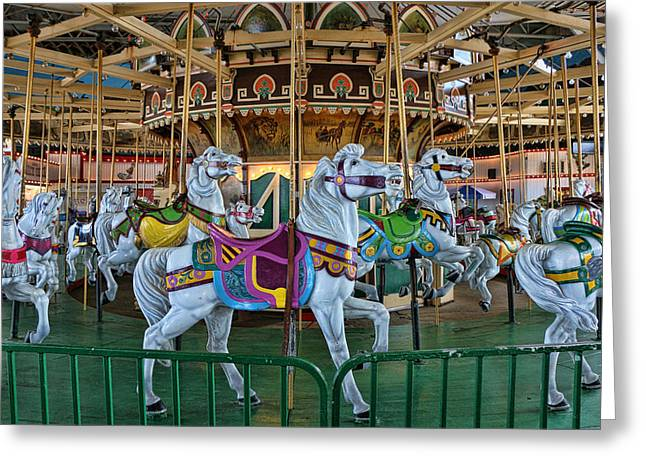 Ocean Art Photography Greeting Cards - Carousel Horses Greeting Card by Allen Beatty