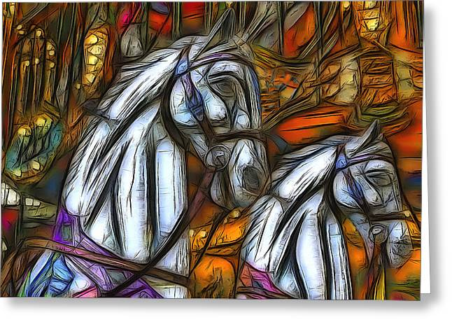 Amusements Greeting Cards - Carousel Horses Greeting Card by Jean-Marc Lacombe