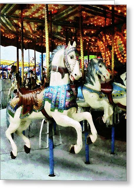 Carousels Greeting Cards - Carousel Horses Greeting Card by Susan Savad