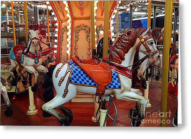 Amusements Greeting Cards - Carousel horses in Gatlinburg Greeting Card by Anne Sands