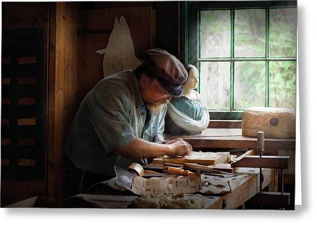 Carver Greeting Cards - Carpenter - Carving the Figurehead  Greeting Card by Mike Savad