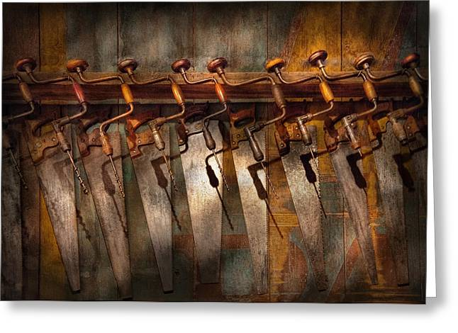 Saw Greeting Cards - Carpenter  - Saws and Braces  Greeting Card by Mike Savad