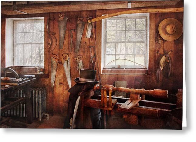 Saw Greeting Cards - Carpenter - The Gentleman Carpenter Greeting Card by Mike Savad