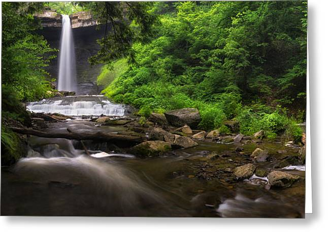 Finger Lakes Region Greeting Cards - Carpenter Falls Pano Greeting Card by Mark Papke