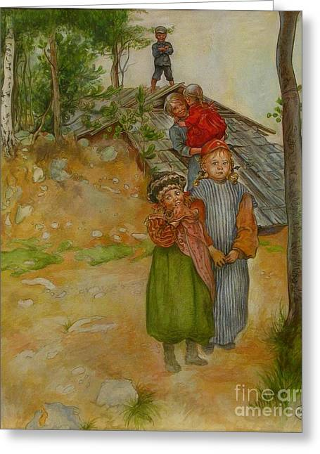 Larsson; Carl (1853-1919) Greeting Cards - Carpenter family Greeting Card by MotionAge Designs